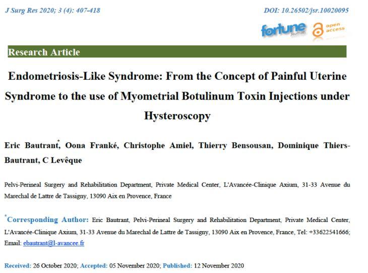 Nouvelle publication sur le Syndrome utérin douloureux du Centre L'Avancée et du CRSF.